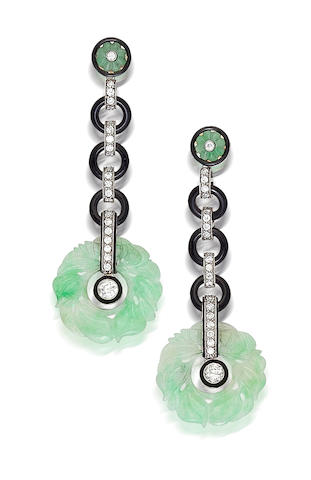 A pair of art deco onyx, jadeite jade and diamond pendant earrings,
