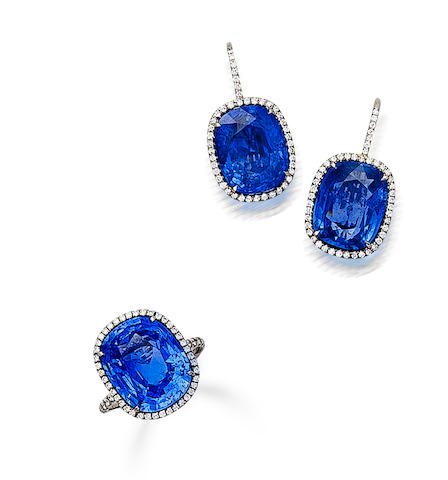 A pair of Burmese sapphire and diamond earrings and ring