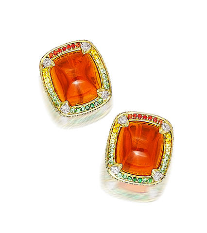 A pair of fire opal and gem-set earclips, Robert Wander