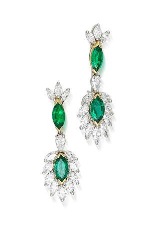 A pair of emerald and diamond pendant earrings, Oscar Heyman & Brothers,