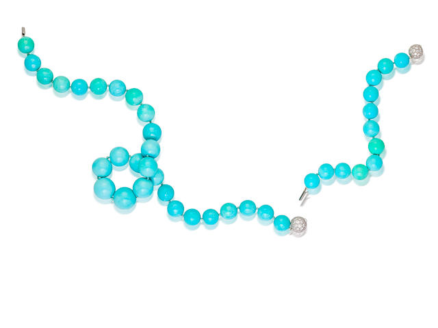 A turquoise and diamond necklace and bracelet, Tiffany & Co.
