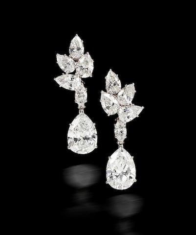 A pair of diamond pendant earrings, Harry Winston,