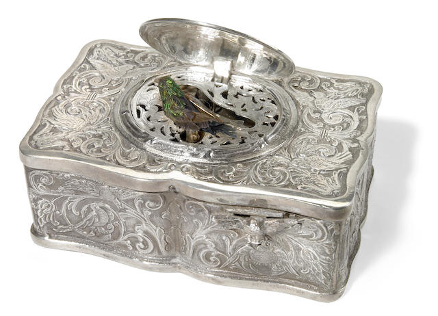 A German sterling silver singing bird music box  20th century