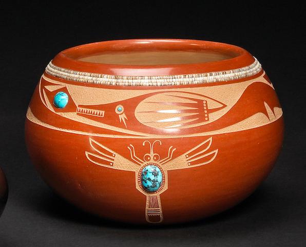 A San Ildefonso sgraffito redware bowl
