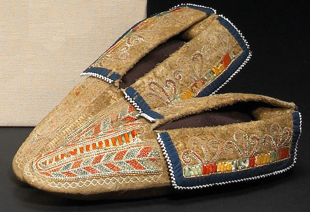 A pair of Iroquois quilled moccasins