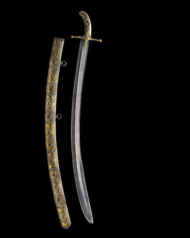 An historic gem-set and gilt silver-mounted Islamic saber attributed to Tipu Sultan and captured at the Siege of Seringapatam in 1799