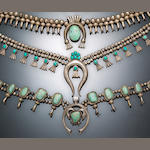 Three Navajo squash blossom necklaces