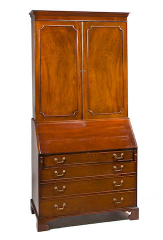 A George III mahogany secretary bookcase fourth quarter 18th century