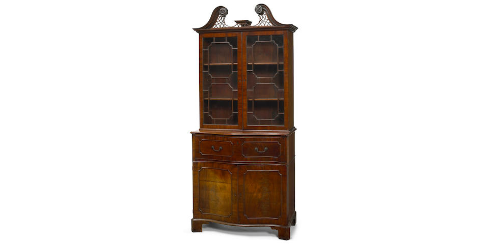 A very good quality George III mahogany secretary bookcase  third quarter 18th century