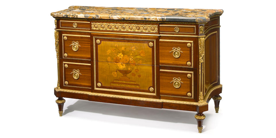 A fine quality Louis XVI style gilt bronze mounted marquetry bois satine and mahogany commode  <br>Francois Linke  <br>late 19th century