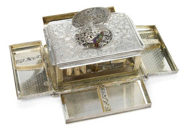A German silver singing bird cigarette box  20th century
