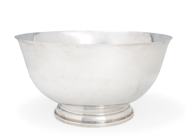 An American sterling silver Revere style large punch bowl<br>Watson Co., Attleboro, Massachusetts, 20th century