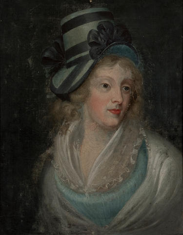 British school, 19th c. Portrait of a woman with a blue hat