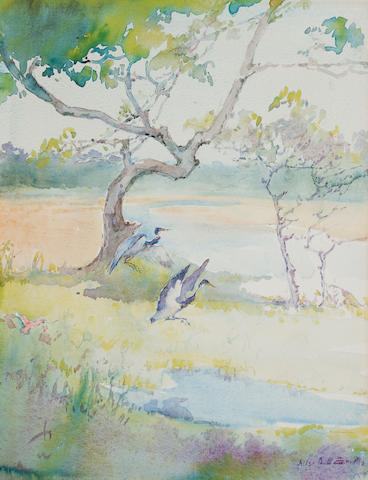 Alice Ravenel Huger Smith (American, 1876-1958) Heron alighting 18 1/2 x 14 1/8in