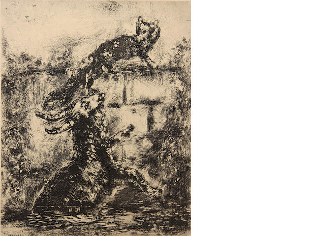 Marc Chagall (1887-1995); Le Renard et le Bouc, Pl. 31, from Les Fables de la Fontaine;