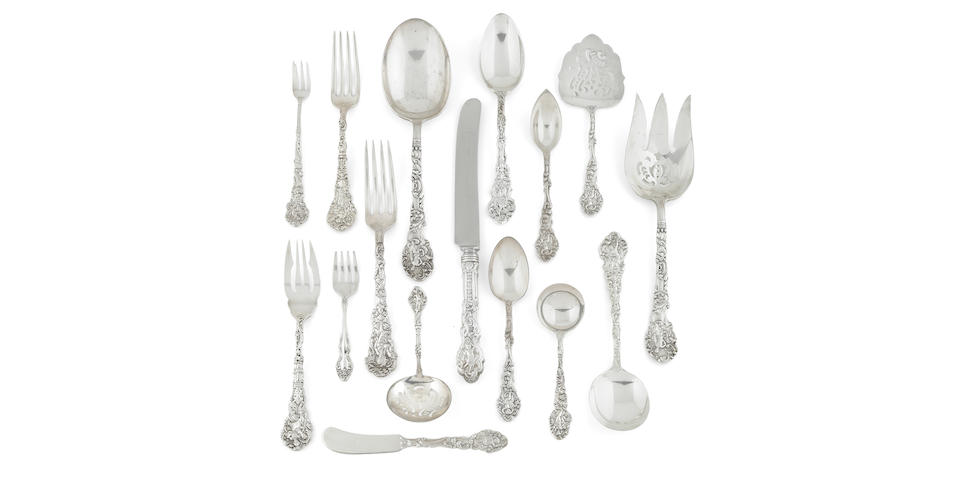An American sterling silver extensive flatware service, Gorham Mfg. Co., Providence, RI, Early 20th Century, Versailles Pattern