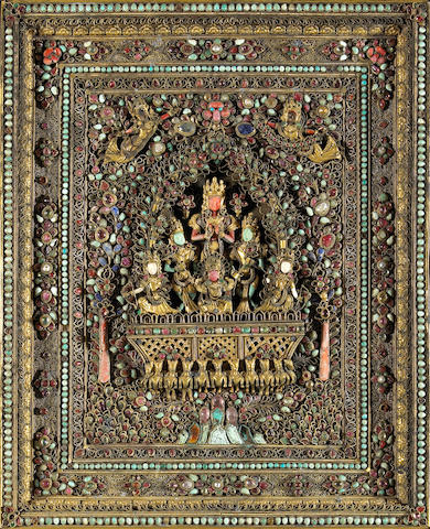 An inlaid gilt metal devotional plaque Nepal, Newari, 19th/20th Century