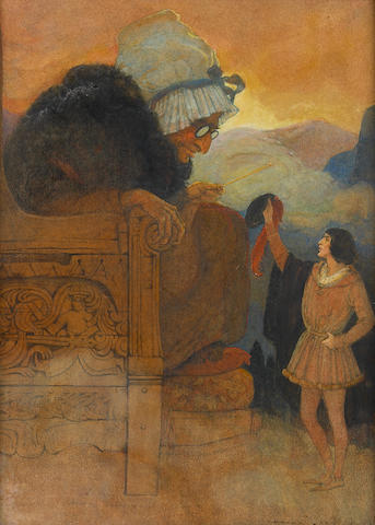 """Elenore Plaisted Abbott (American, 1875-1935) """"The Giant's Grandmother Sat in the Huge Armchair,"""""""