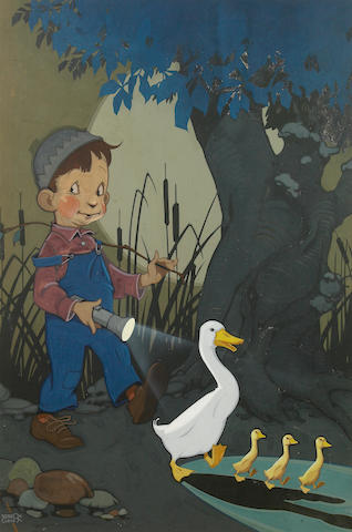 (n/a) Vernon Grant (American, 1902-1990) Boy with duck and ducklings.