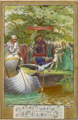 (n/a) F.C. Tilney (British, 1870-1951) Untitled, King Arthur and dove,