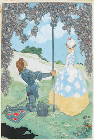 "René Bull (Irish, 1872-1942) ""The Knight and his Maid,"""