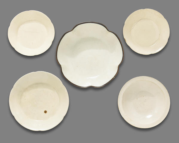 A group of five Dingyao and related Northern white ware dishes Song to Jin dynasty