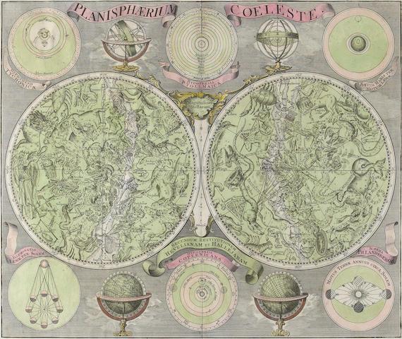 CELESTIAL MAP. LOTTER, TOBIAS CONRAD. 1717-1777. Planisphaerium Coeleste. Augsburg: Lotter, [c.1750].