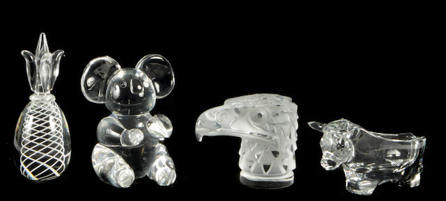 A large grouping of Lalique, Steuben and other glass decorations