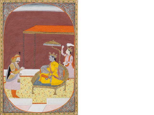 An Indian miniature painting Pahari Hills, Circa 1820