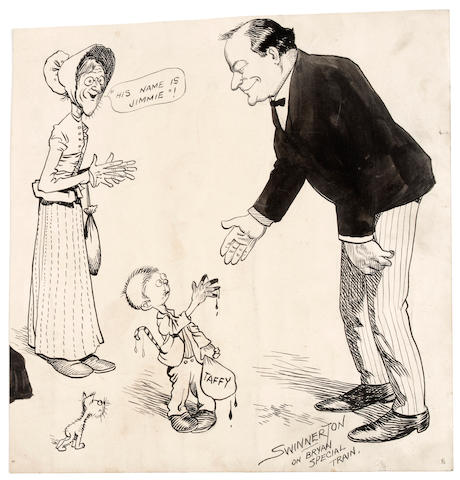 (n/a) James Swinnerton (American, 1875-1974) Four pen-and-ink cartoons of William Jennings Bryan on the campaign trail