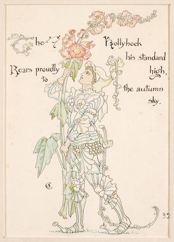 "(n/a) Walter Crane (British, 1845-1915) ""The Hollyhock his standard high, Rears proudly to the autumn sky,"""