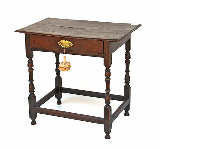 A William and Mary oak side table early 18th century, possibly later