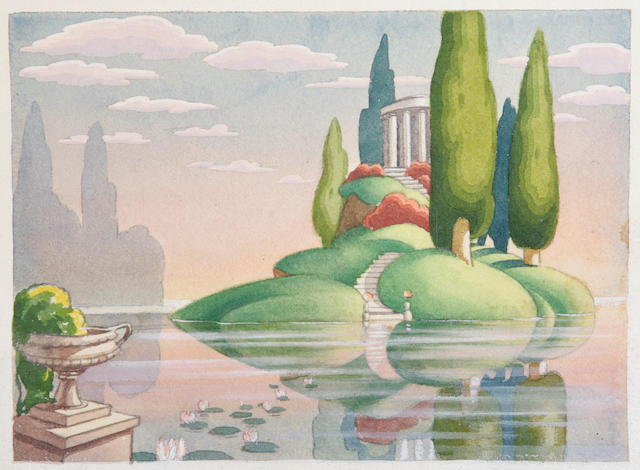 A Walt Disney preliminary watercolor study from Fantasia