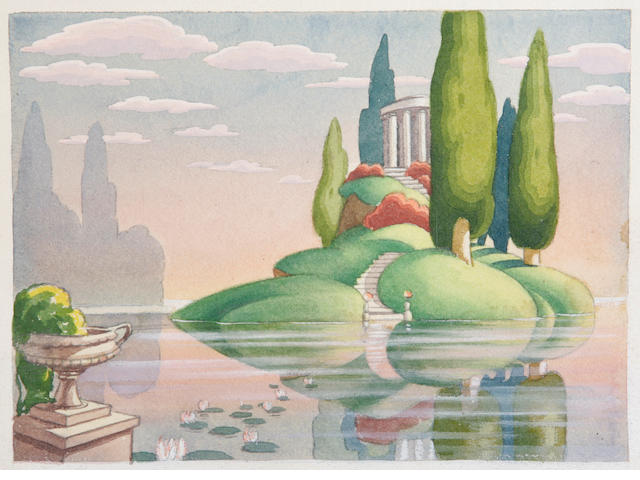 "A Walt Disney preliminary watercolor study from ""Fantasia"""