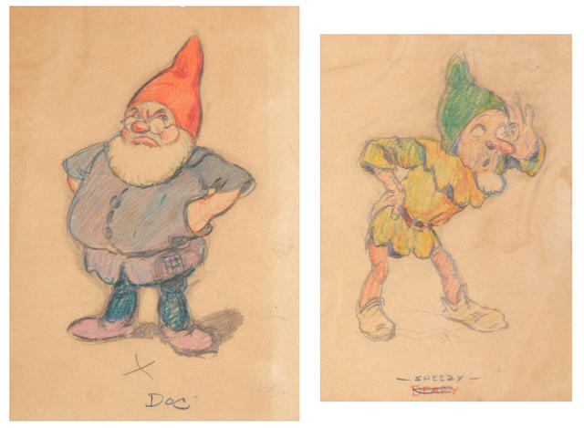 Seven early Walt Disney preliminary drawings from Snow White and the Seven Dwarfs
