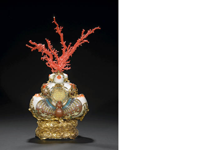 A Canton enameled peach and bat-form coral branch stand  20th/21st Century replica after an 18th/19th Century prototype