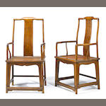 A pair of huanghuali and mixed wood yokeback chairs, plain splats