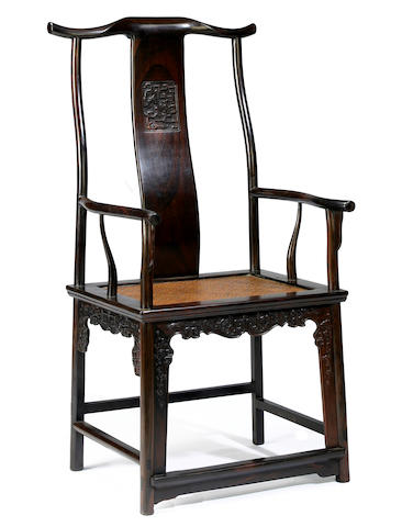 A hongmu yoke back arm chair