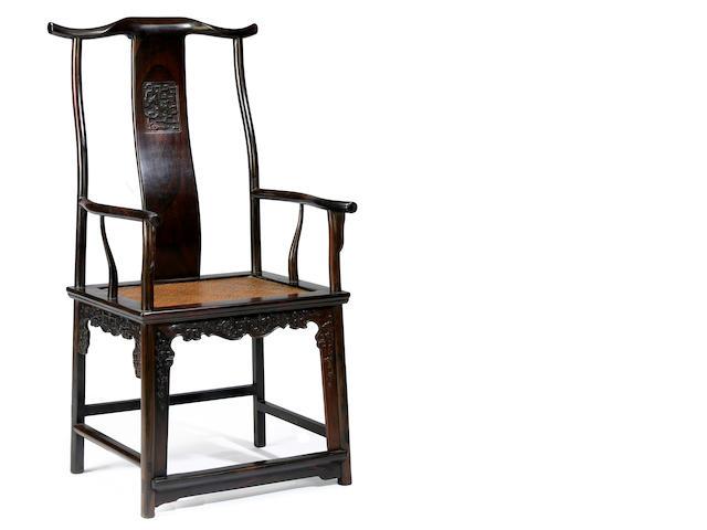 A hongmu yoke back arm chair