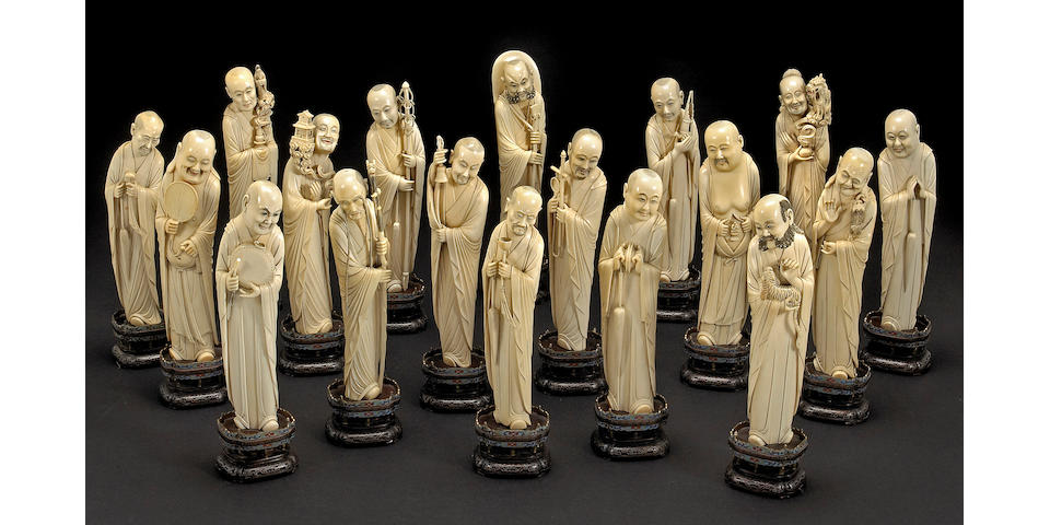 A carved ivory set of Eighteen Luohan Late Qing Dynasty