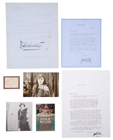 Pola Negri signed letters