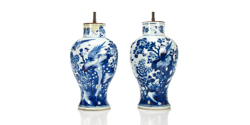A pair of Chinese blue and white porcelain baluster form large vases mounted as lamps