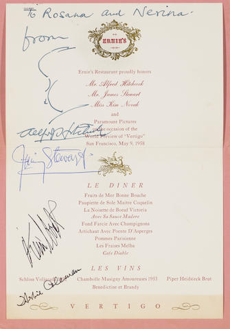 A Vertigo World Preview dinner menu, signed by Alfred Hitchcock, Jimmy Stewart, Kim Novak and Herbert Coleman
