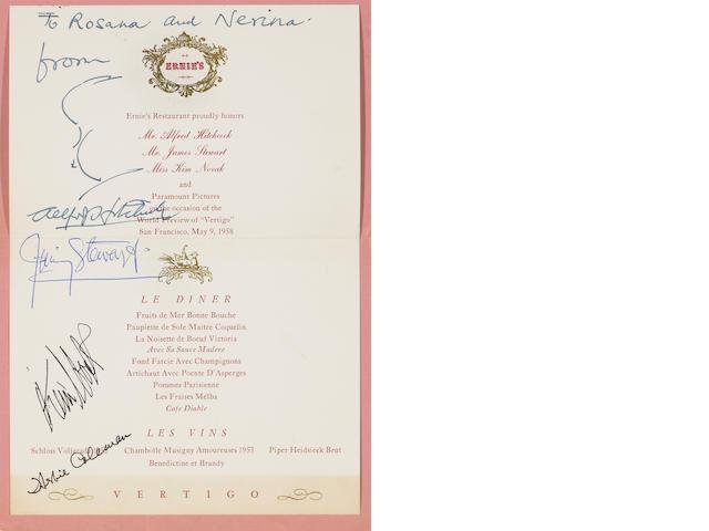 A Vertigo World Preview dinner menu, signed by Alfred Hitchcock, Jimmy Stewart, Kim Novak and Herbert Coleman