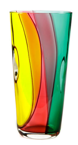 An Archimede Seguso colored glass vase for Murano