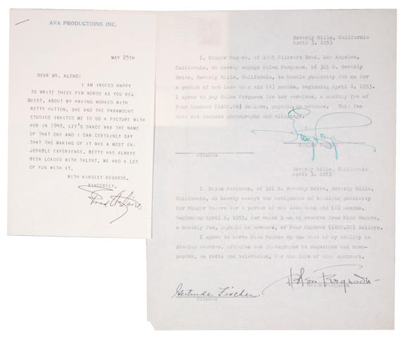 Bonhams Fred Astaire And Ginger Rogers Signatures