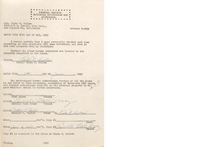 Lucille Ball Arnaz twice signed document