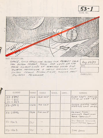 Dune special effects storyboards