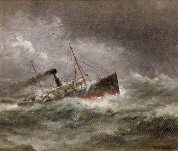 William Alexander Coulter (1849-1936) Ship on rough seas 8 1/4 x 10 1/4in