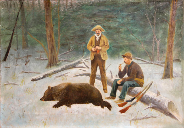 (n/a) American School (20th Century) Two hunters with a bear 14 x 20in